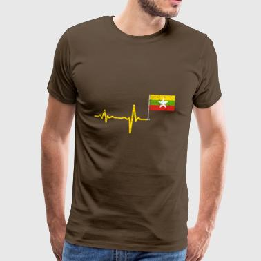 Heartbeat Myanmar flag gift - Men's Premium T-Shirt