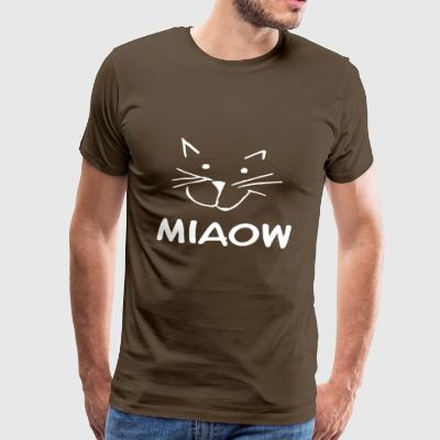 Meow kat hoved tegning - Herre premium T-shirt