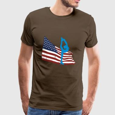 Ice skater in front of the USA flag - Men's Premium T-Shirt