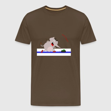 Sporty Elephant - elephant playing curling - Men's Premium T-Shirt