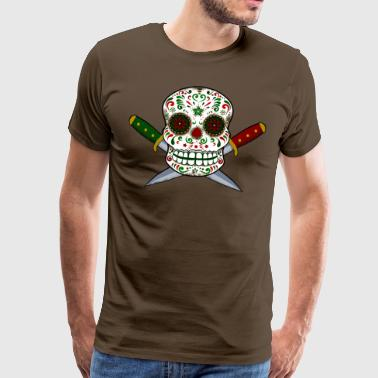 Mexican skull and daggers. Day of the Dead - Men's Premium T-Shirt