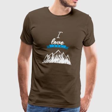I love mountains high blue gift I love - Men's Premium T-Shirt