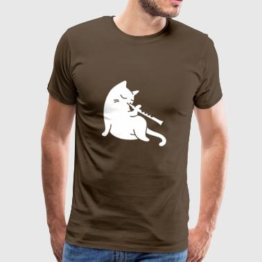 Cat plays flute - Men's Premium T-Shirt