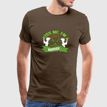 Kiss Me Irish Nurse St Patricks Day Clover Leaf - Premium-T-shirt herr