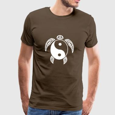 Yin Yang Turtle White Light & Dark Balance Symbol - Premium T-skjorte for menn