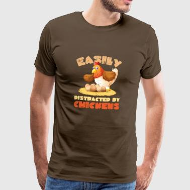 Funny Easily Distracted by Chicken - Männer Premium T-Shirt