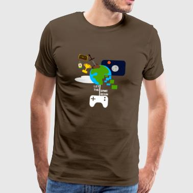 La Game Begin - morsom gamer t-skjorte - Premium T-skjorte for menn