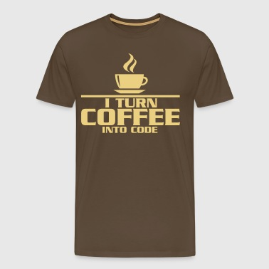 I turn coffe into code - Herre premium T-shirt
