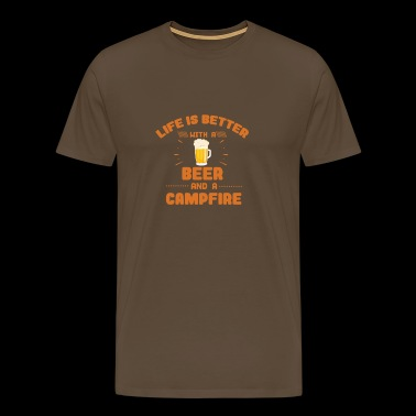 Life is better with a beer and a Campfire T-Shirt - Men's Premium T-Shirt