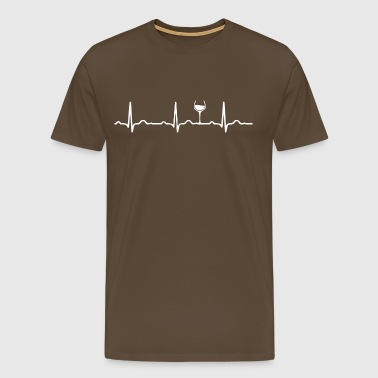ECG HEARTBEAT WINE white - Men's Premium T-Shirt