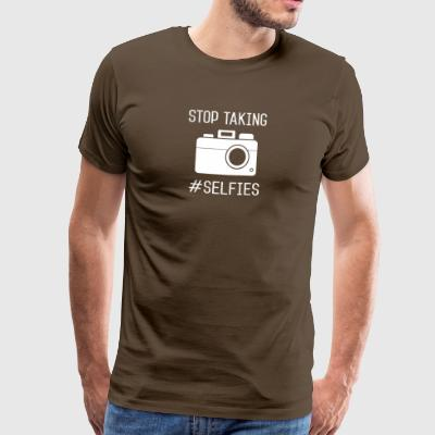Stopper selfies hater dronning konge internet gave - Herre premium T-shirt