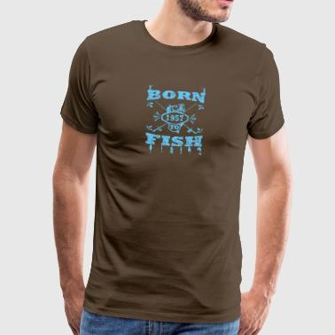 Born to fish vinkel mete 1957 - Premium-T-shirt herr