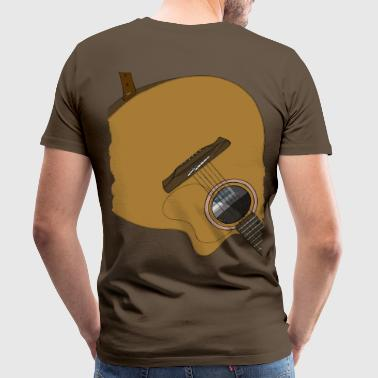 Guitar på ryggen Brown - Herre premium T-shirt