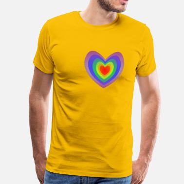 Koncentrisk Gay Heart Flag - Premium-T-shirt herr