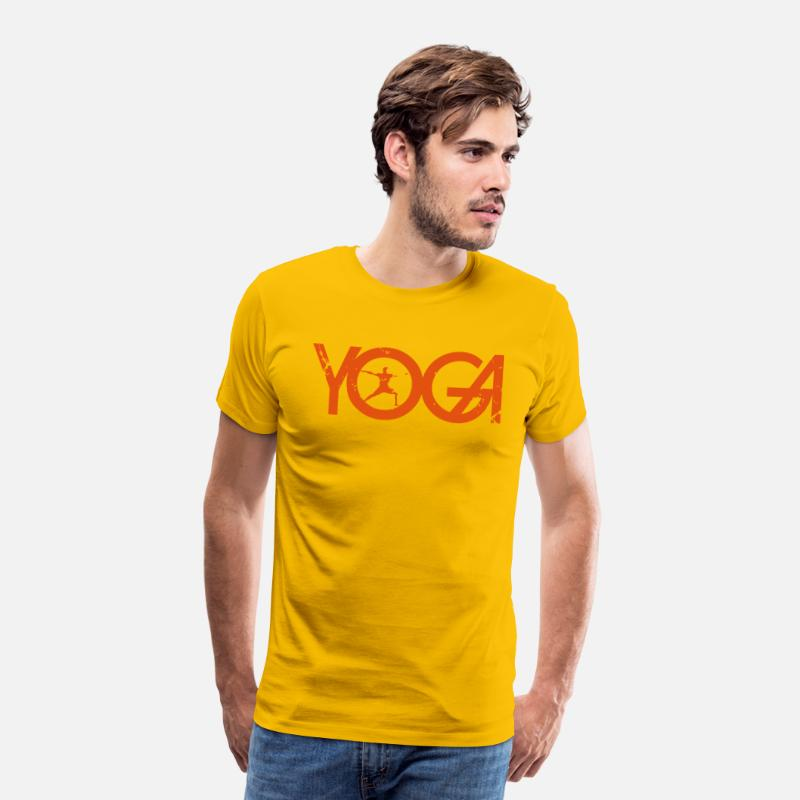 Lettering T-Shirts - Yoga writing with man in grunge style - Men's Premium T-Shirt sun yellow