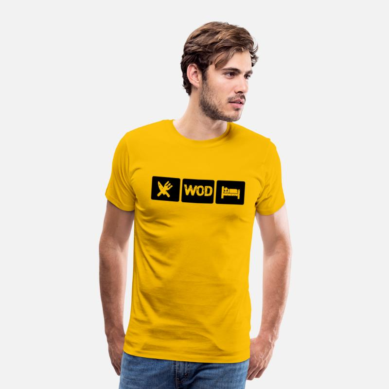 Fitness T-shirts - Eat WOD Sleep - Crossfit - T-shirt premium Homme jaune soleil
