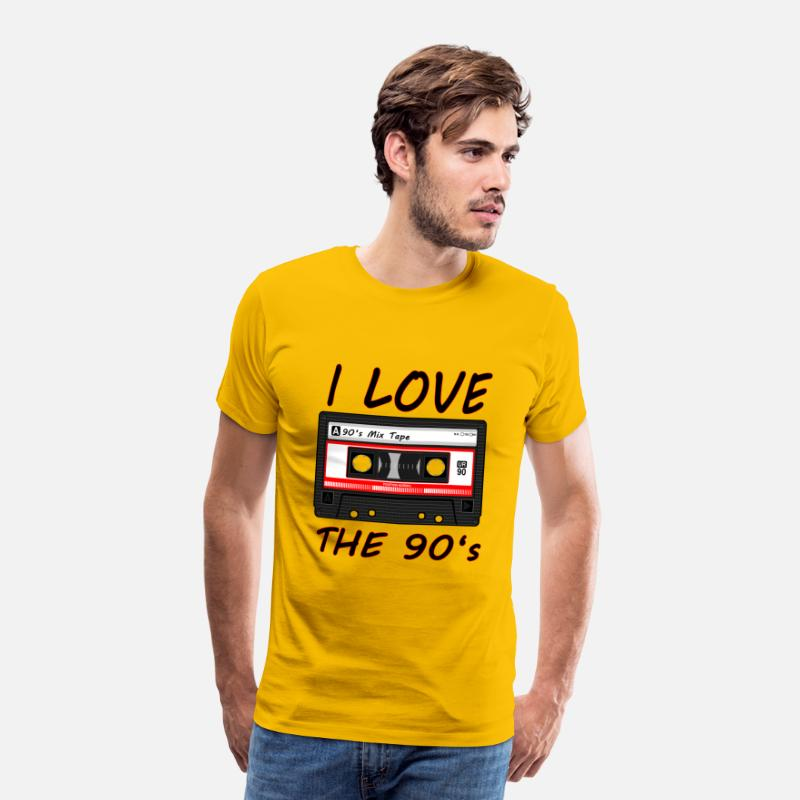 Love T-Shirts - I Love The 90's 90s, 90s, dance, music, nineties - Men's Premium T-Shirt sun yellow