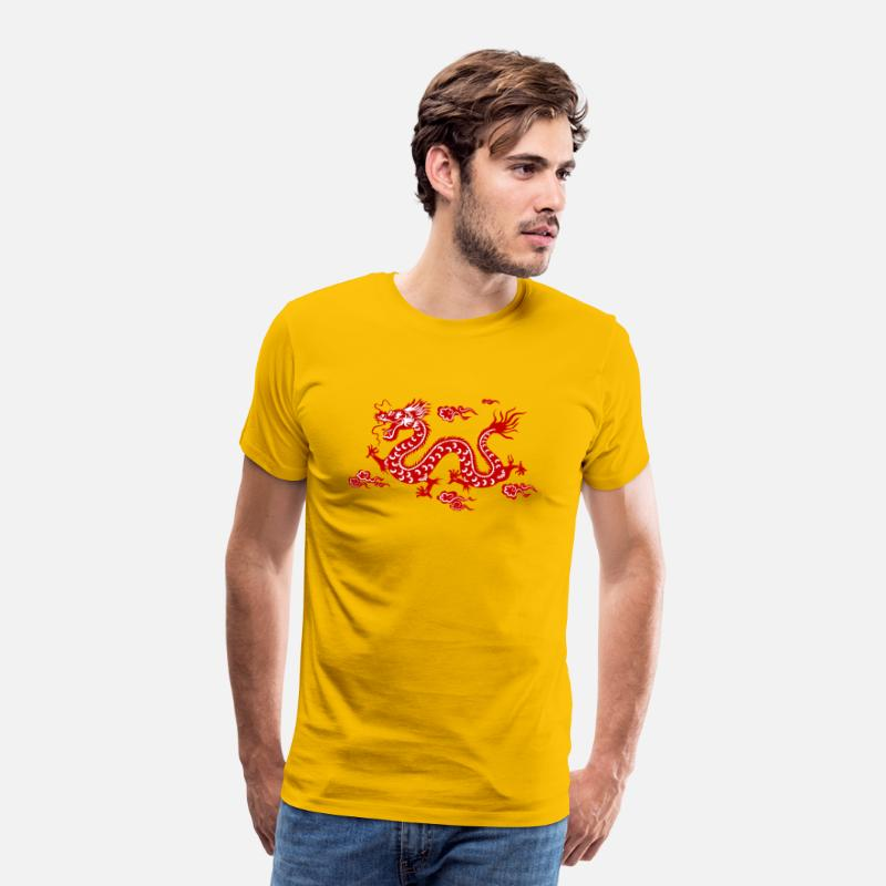 Chinese Dragon T-Shirts - Traditional Chinese Dragon - Men's Premium T-Shirt sun yellow