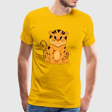 Cute Cartoon Tiger Cub  - Men's Premium T-Shirt
