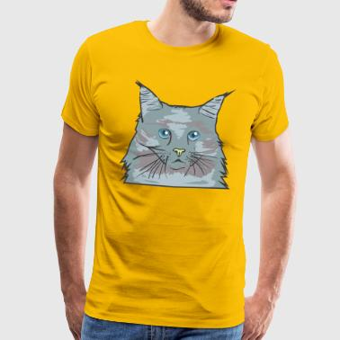 Cat face of a domestic cat with blue eyes - Men's Premium T-Shirt