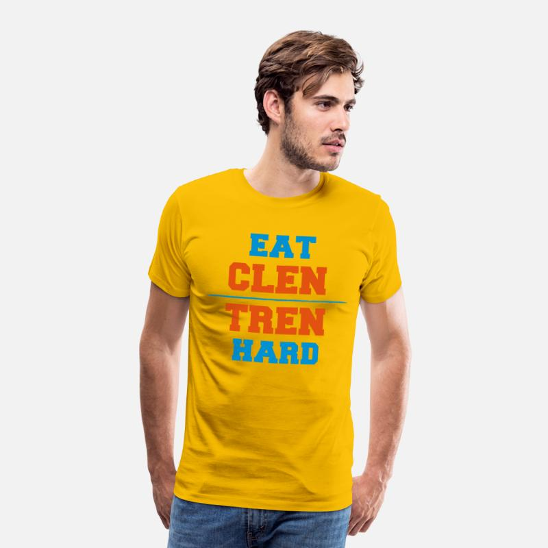 Body Building T-shirts - Eat Clen - Tren Hard - T-shirt premium Homme jaune soleil