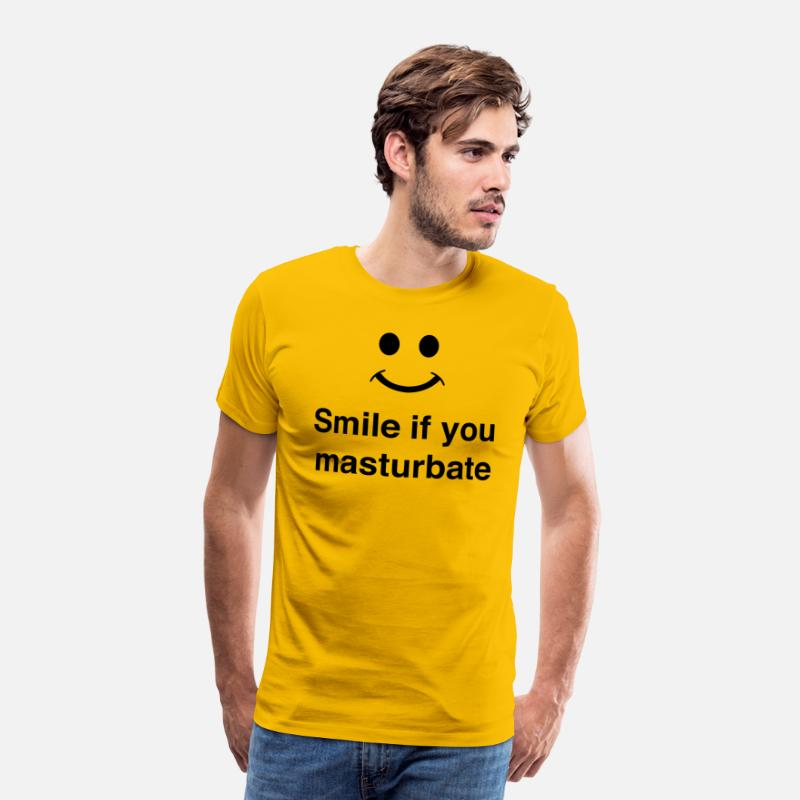 Masturbation T-Shirts - Smile If You Masturbate - Men's Premium T-Shirt sun yellow