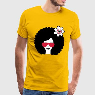 Curly haired girl with flower, retro revival, Afro summer - Men's Premium T-Shirt