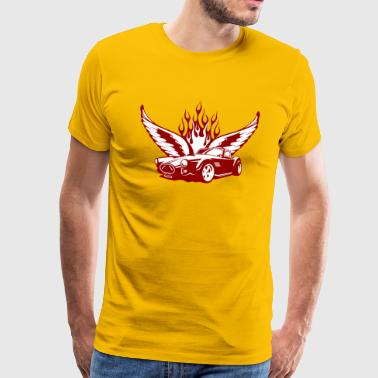Wings at Car - feuerrot - Herre premium T-shirt