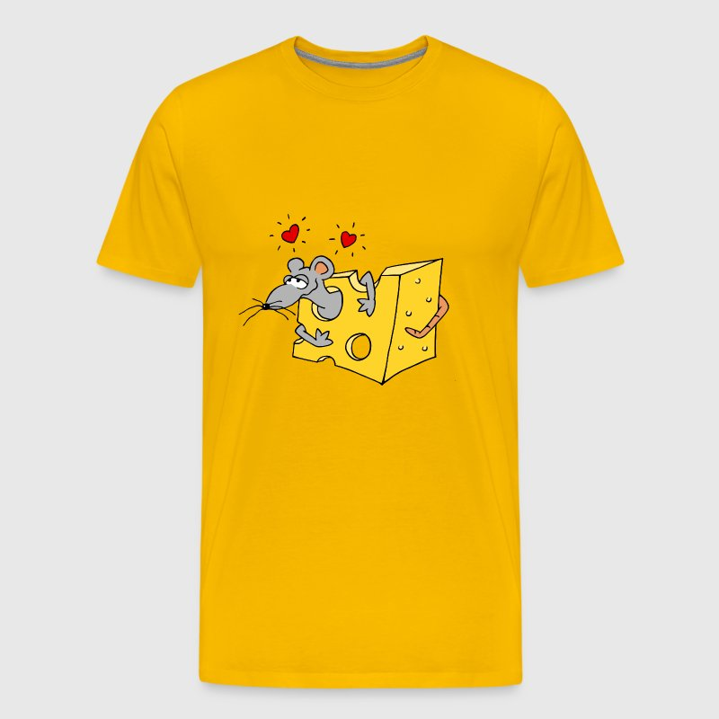 little mouse loves cheese heart sweet love gift - Men's Premium T-Shirt