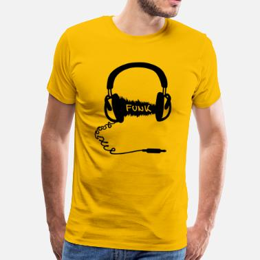 Funk Headphones Audio Wave Design: Funk Musik - Men's Premium T-Shirt