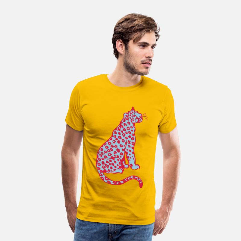 Leopard T-Shirts - Sitting Leopard by Cheerful Madness!! - Men's Premium T-Shirt sun yellow