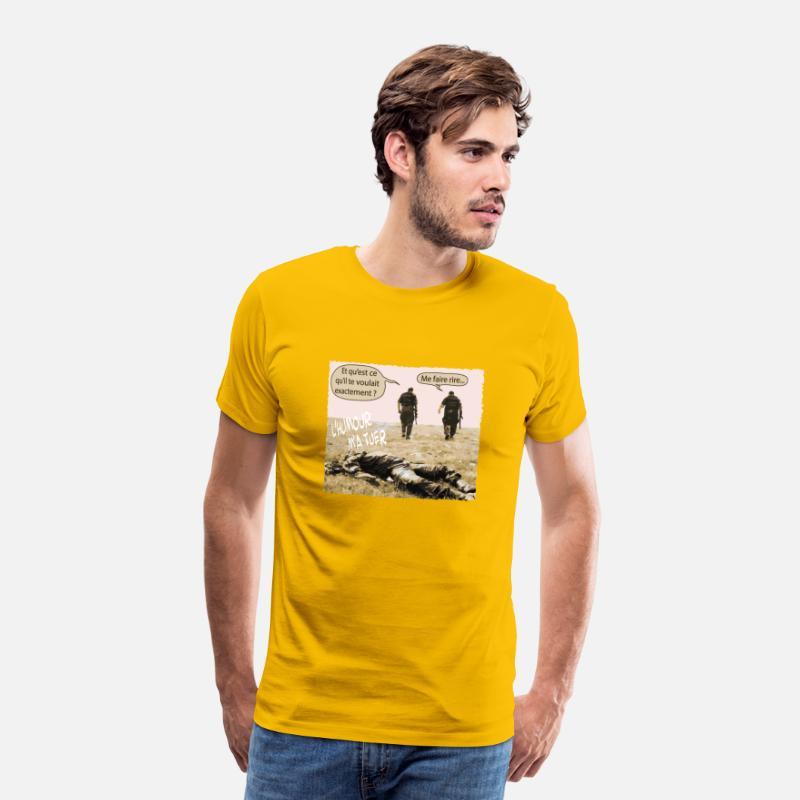 Humor meg drepe Premium T skjorte for menn solgul