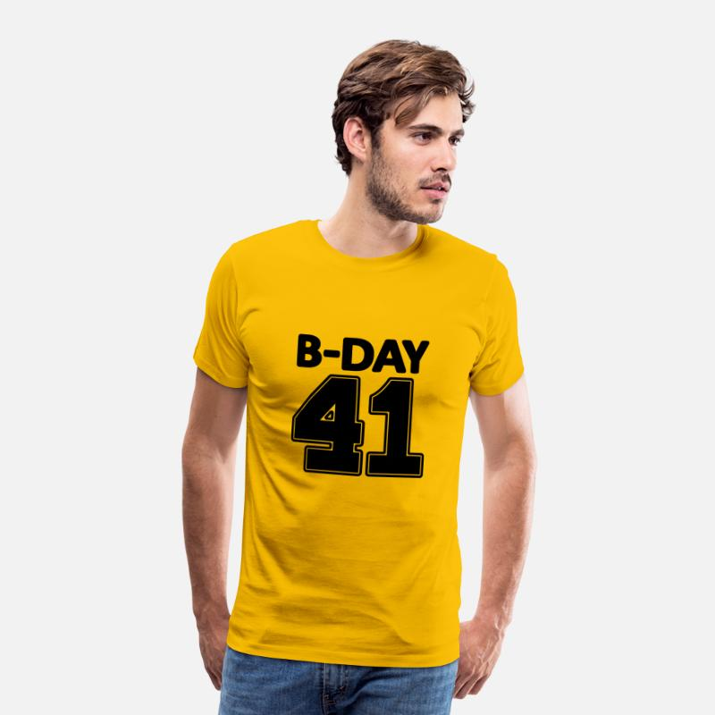 Jersey Number T-Shirts - Number 41 years 41st birthday number number numbers - Men's Premium T-Shirt sun yellow