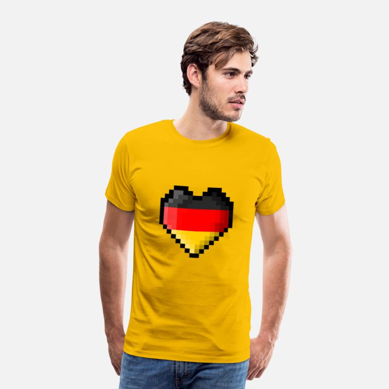 Pixel Heart T-Shirts - Pixel heart Germany flag - Men's Premium T-Shirt sun yellow
