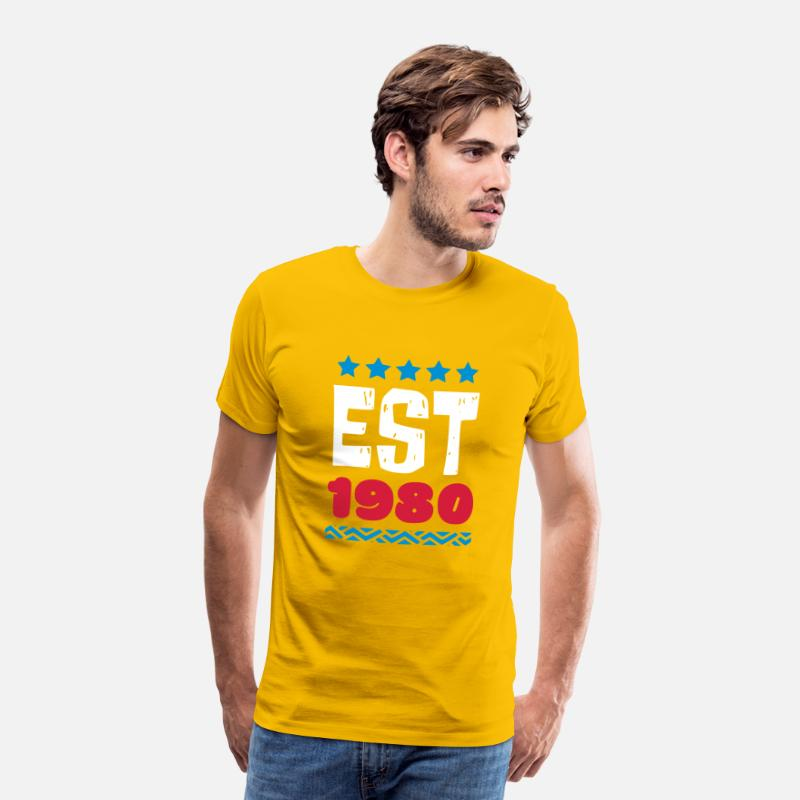 Established T-Shirts - EST 1980 - ESTABLISHED IN 1980 - Men's Premium T-Shirt sun yellow