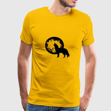 Wolf Illustration mit Mond Cartoon Comic Wölfe - Männer Premium T-Shirt