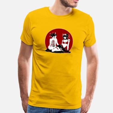 Geisha Two Sexy Geisha Pinup - Men's Premium T-Shirt