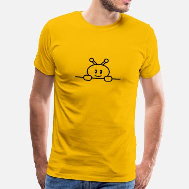 Small Cute Robot Behind Wall - Men's Premium T-Shirt