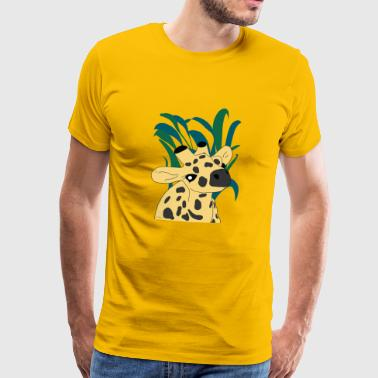 Yellow Giraffe in Serengeti Grass - Men's Premium T-Shirt