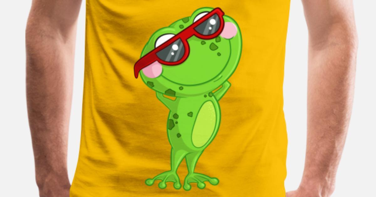 Rana di cartone animato con occhiali da sole maglietta premium