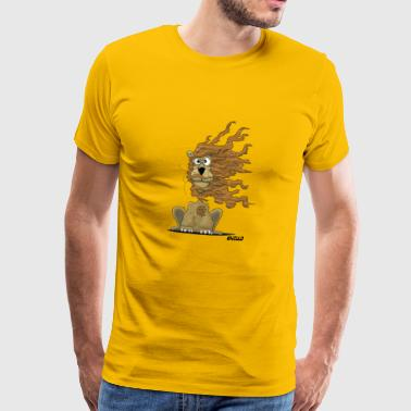 Enillo Cartoon Loewe windig - Männer Premium T-Shirt