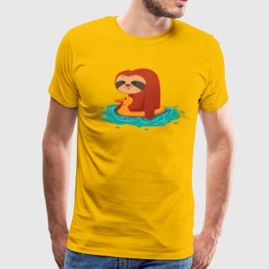 lustiges pool party faultier sommer design - Männer Premium T-Shirt