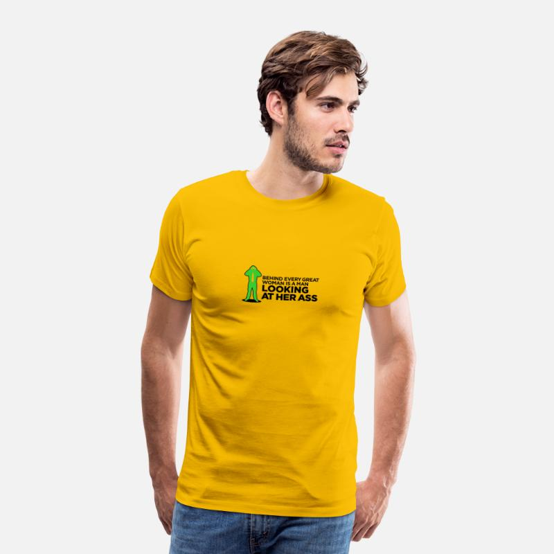Ass T-Shirts - Behind Every Great Woman Is A Horny Voyeur - Men's Premium T-Shirt sun yellow