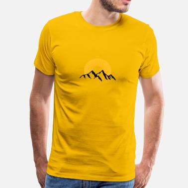 Mountaineering Beautiful mountains with Sun - Men's Premium T-Shirt