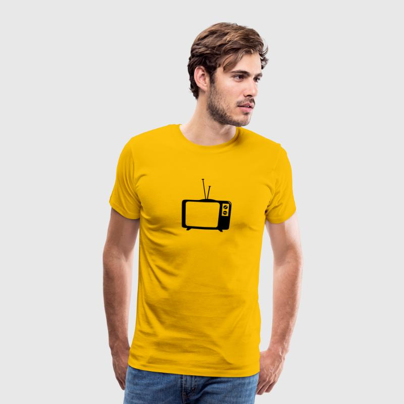 TV, TV, telly, flat tv, led, screen, tube, retro, ground glass, - Men's Premium T-Shirt