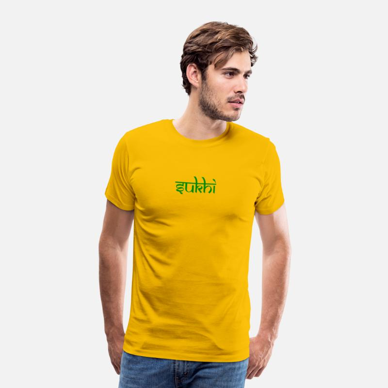 Green T-Shirts - Sukhi yellow mens premium shirt, green print - Men's Premium T-Shirt sun yellow