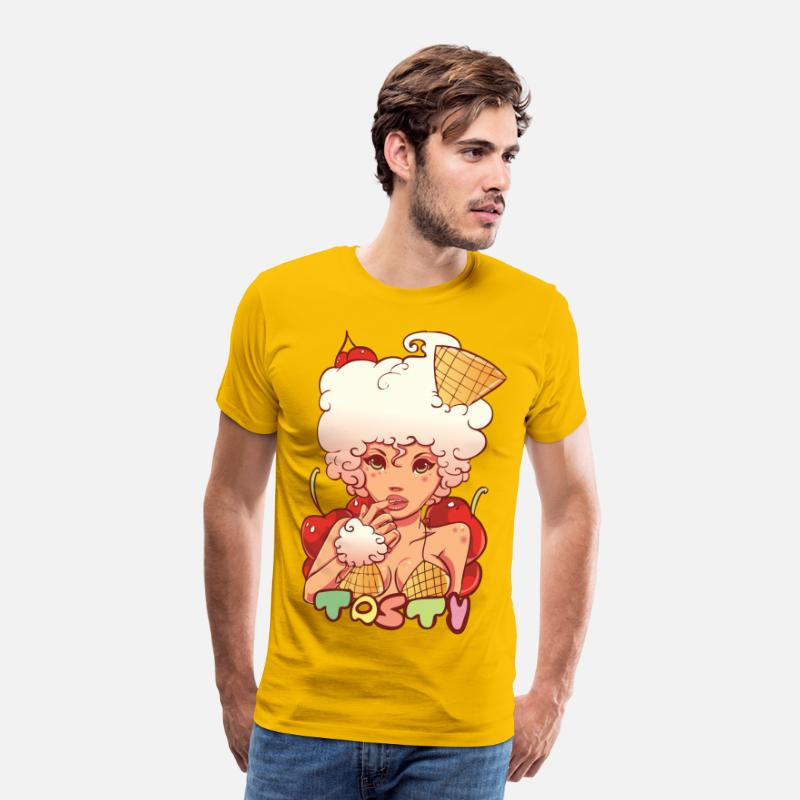 Collections T-shirt - Ice Cream - Herre premium T-shirt sol-gul