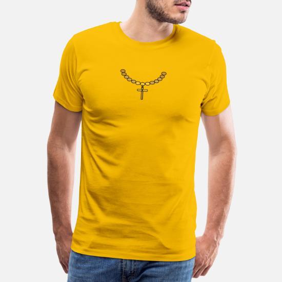 Tuff halsband med guldkors Premium T shirt herr | Spreadshirt