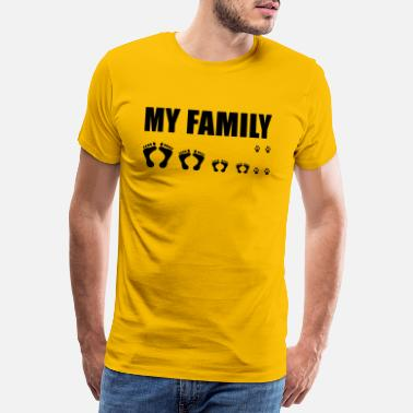 Foot Print MY FAMILY / MAN, WOMAN, SON, DAUGHTER and DOG - Men's Premium T-Shirt