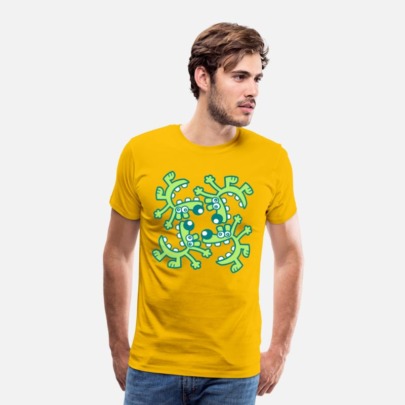 Animal T-Shirts -  A circle of Laughs by Cheerful Madness!! - Men's Premium T-Shirt sun yellow